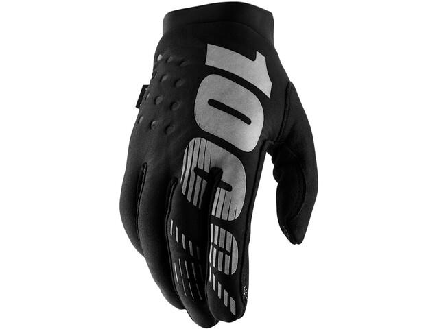 100% Brisker Gloves Cold Weather Youth, black/grey